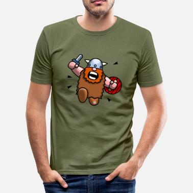 Cartoon Wild Viking - Men's Slim Fit T-Shirt
