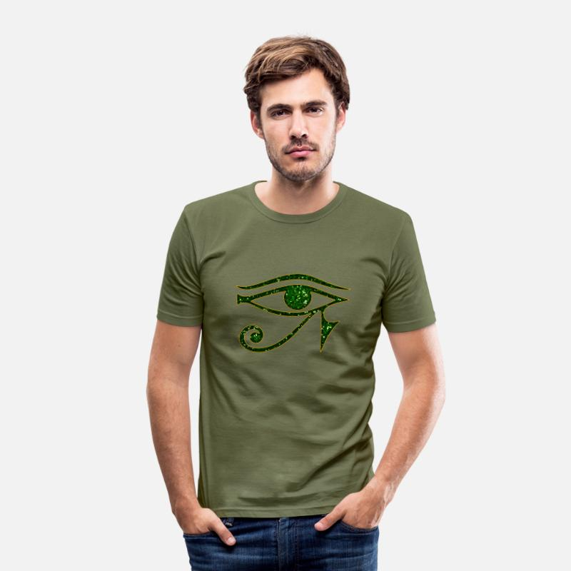 Amulette T-shirts - Eye of Horus / udjat - right eye - sun eye / wedjat - left  eye - moon eye /symbol - protection & healing / - T-shirt moulant Homme vert kaki