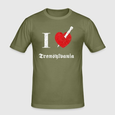 I love Transylvania (white, dd print) - Männer Slim Fit T-Shirt