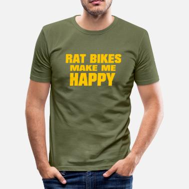 Rat Bike Rat Bikes Make Me Happy - Men's Slim Fit T-Shirt