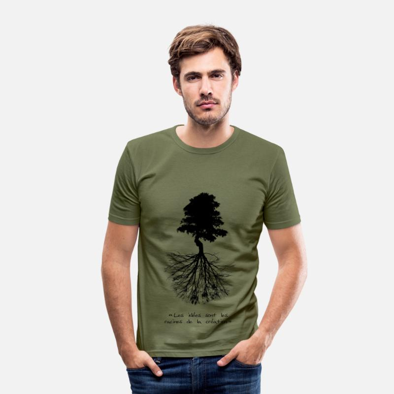 Citations T-shirts - Racines - T-shirt moulant Homme vert kaki