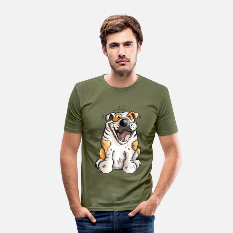 Bulldog Camisetas - Divertido Bulldog - Camiseta slim fit hombre verde caqui