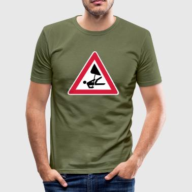 Abseiling Warning: abseiling! (White background) - Men's Slim Fit T-Shirt