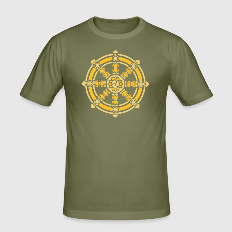 Dharma Wheel, Dharmachakra, Spirituality, Buddhism - Men's Slim Fit T-Shirt