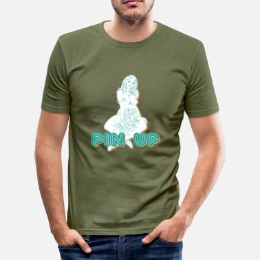 Busty busty girl with flowers - Men's Slim Fit T-Shirt
