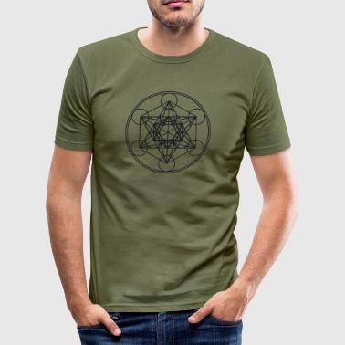 Metatrons Cube Sacred Geometry Flower Life Science - Men's Slim Fit T-Shirt
