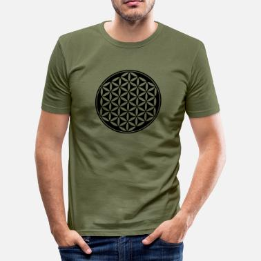 Metatrons Cube Flower of Life - Vector - 03, 1c, sacred geometry, energy, symbol, powerful, healing, protection,  - Men's Slim Fit T-Shirt