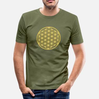 Melchizedek Flower of Life - FEEL THE ENERGY, Gold, Sacred Geometry, Protection Symbol, Harmony, Balance - Men's Slim Fit T-Shirt