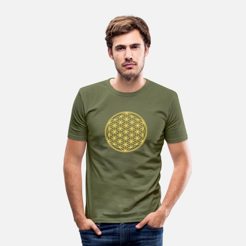 Fleur T-shirts - Fleur de la vie - FEEL THE ENERGY, Flower of Life, Gold, Sacred Geometry, Protection Symbol, Harmony, Balance - T-shirt moulant Homme vert kaki