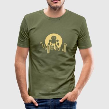 Robot City Skyline - Men's Slim Fit T-Shirt