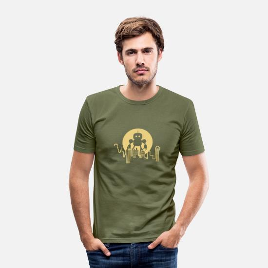 Geek T-Shirts - Robot City Skyline - Men's Slim Fit T-Shirt khaki green