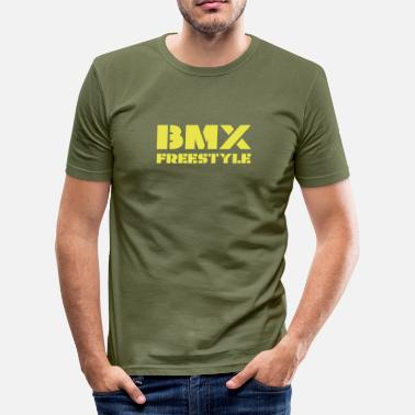 Bike Stencil BMX Freestyle - Men's Slim Fit T-Shirt