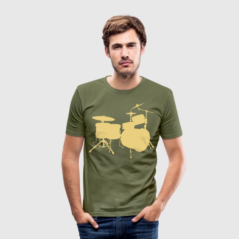 music drums drum set - Camiseta ajustada hombre