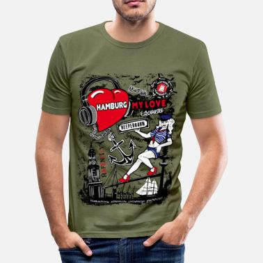 Hamburg I Love Hamburg T-Shirt - Männer Slim Fit T-Shirt