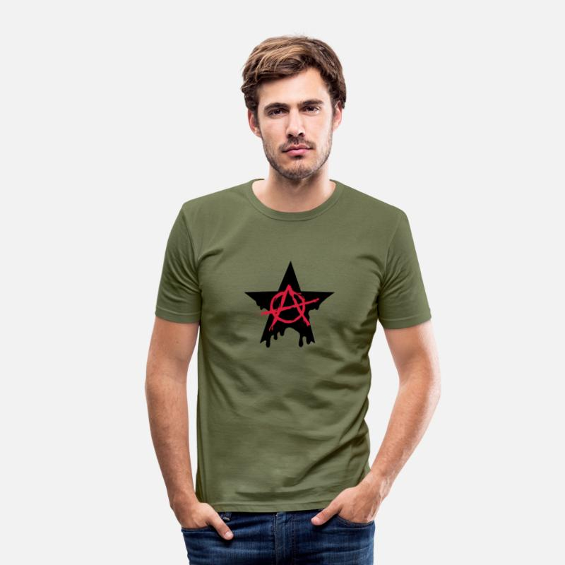 Anarchy T-Shirts - Anarchy star chaos symbol rebel revolution punk - Men's Slim Fit T-Shirt khaki green