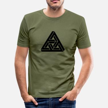 Escher Impossible Triangle, optical illusion, Escher - Men's Slim Fit T-Shirt