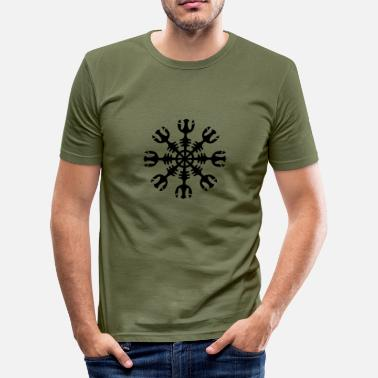 Compass Paganism Gothic Aegishjalmur, Helm of awe, invincibility, runes - Men's Slim Fit T-Shirt