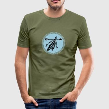 Arrow with feathers, protection & power symbol - Men's Slim Fit T-Shirt