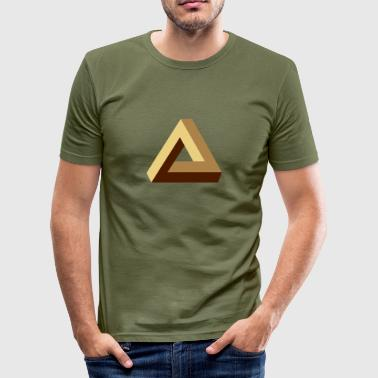 Impossible Triangle, optical illusion, Escher, tri - Men's Slim Fit T-Shirt