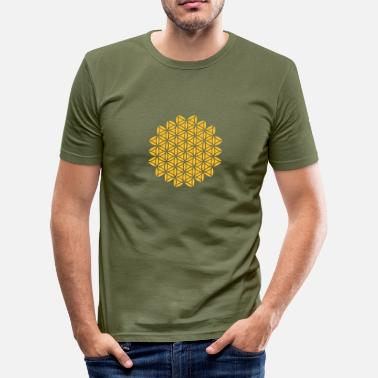 Protective Symbol Flower of Life - VECTOR , Sacred Geometry, Protection Symbol, Harmony, Balance - Men's Slim Fit T-Shirt