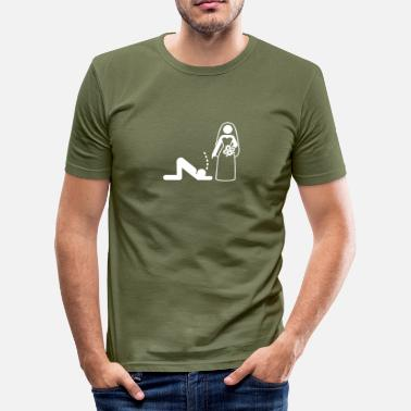 Dominant Slave A Dominant Bride Holds Her Husband As A Slave - Men's Slim Fit T-Shirt
