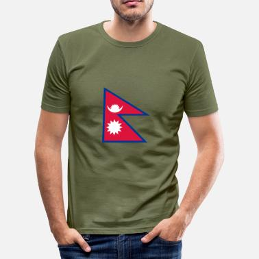 Rupie Nationale Vlag Van Nepal - Mannen slim fit T-shirt