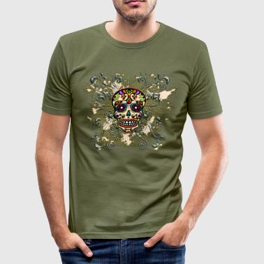 Mexican Sugar Skull - Day of the Dead - Men's Slim Fit T-Shirt