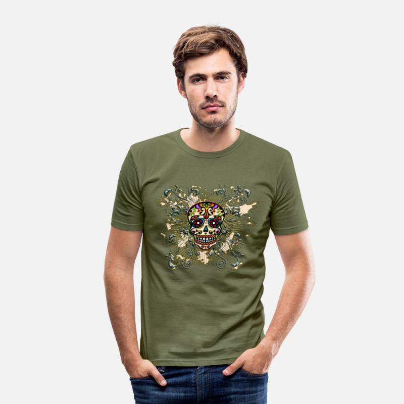 Skull T-Shirts - Mexican Sugar Skull - Day of the Dead - Mannen slim fit T-shirt kakigroen