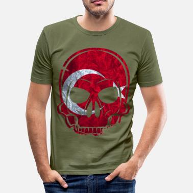 Turkey Skull MMJ Turkey Flag Skull - Men's Slim Fit T-Shirt