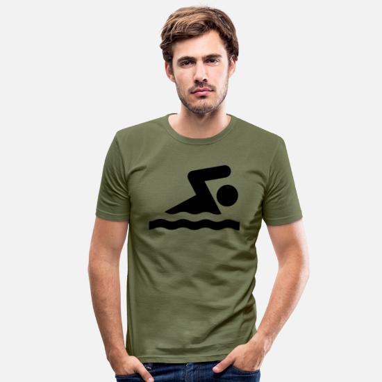 Swimming T-Shirts - Swimming - Men's Slim Fit T-Shirt khaki green