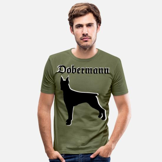 Dog Owner T-Shirts - Doberman dog head, dog sports, dog owners - Men's Slim Fit T-Shirt khaki green
