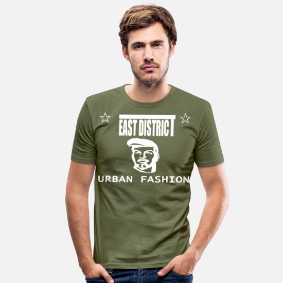 Lenin T-shirts - East District, Retro USSR mode Lenin Ленин skjorte - Slim fit T-shirt mænd kakigrøn