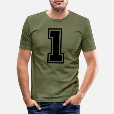 Jersey Number 1_f1 - Men's Slim Fit T-Shirt