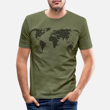 World Map World map as a labyrinth - Men's Slim Fit T-Shirt
