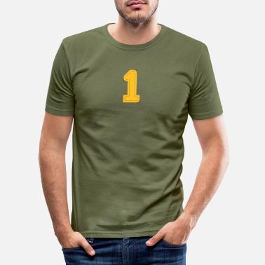 Beautiful number one patch - Men's Slim Fit T-Shirt