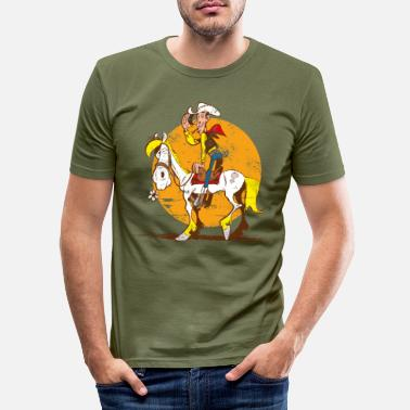 Lucky Luke Jolly Jumper Sonnenuntergang - Männer Slim Fit T-Shirt