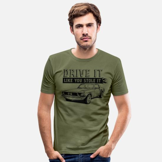 Collection T-shirts - muscle voiture - T-shirt moulant Homme vert kaki