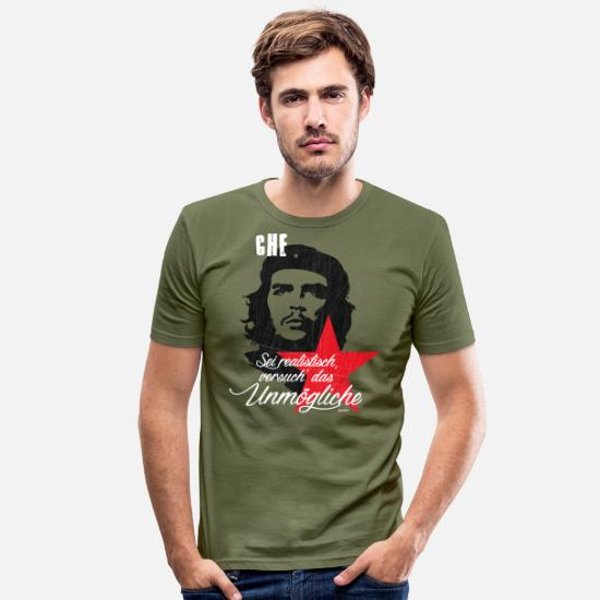 Che T-Shirts - Che Guevara Saying Try The Impossible - Men's Slim Fit T-Shirt khaki green