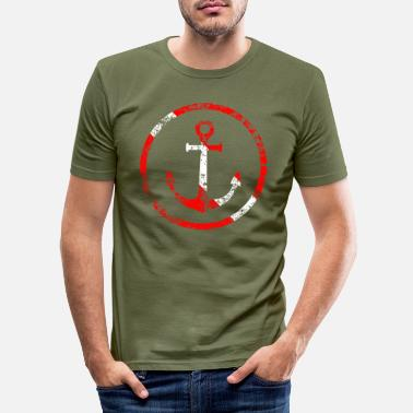 Anchor Anchor in a circle Diver flag Diver used look - Men's Slim Fit T-Shirt