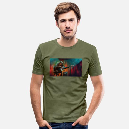 Guitar Player T-Shirts - Monkey Music - Men's Slim Fit T-Shirt khaki green