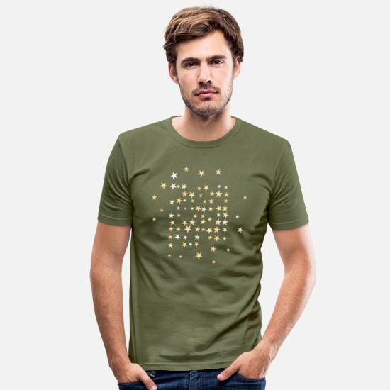 Starry Sky T-Shirts - Christmas stars yellow and bronze tones - Men's Slim Fit T-Shirt khaki green