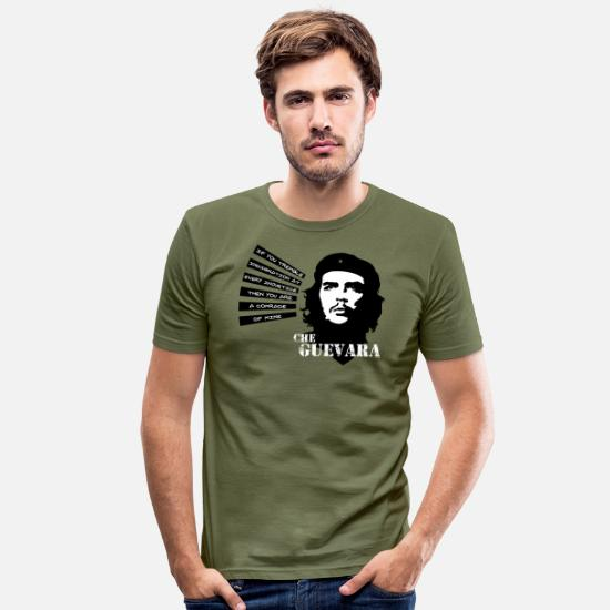"Che Guevara T-Shirts - Che Guevara ""If you tremble with Indignation"" - Men's Slim Fit T-Shirt khaki green"