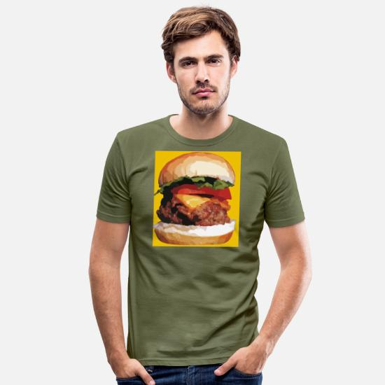 Love T-Shirts - Cheese burger - Men's Slim Fit T-Shirt khaki green
