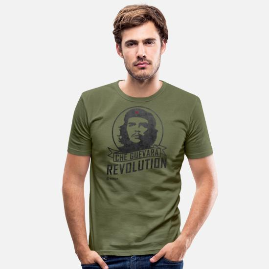 Che Guevara T-Shirts - Che Guevara revolution - Men's Slim Fit T-Shirt khaki green