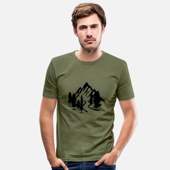 Adventure T-Shirts - Mountain, Forest and Road - Men's Slim Fit T-Shirt khaki green