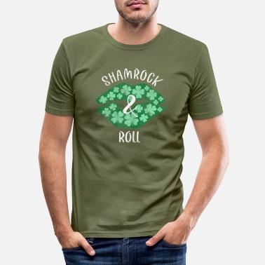 Irish Womens Shamrock Roll Green Lips - Männer Slim Fit T-Shirt