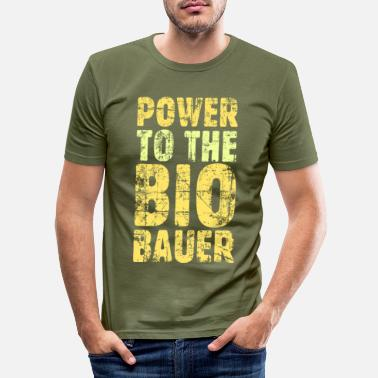 Öko Power to the Biobauer Bio Gelb - Männer Slim Fit T-Shirt