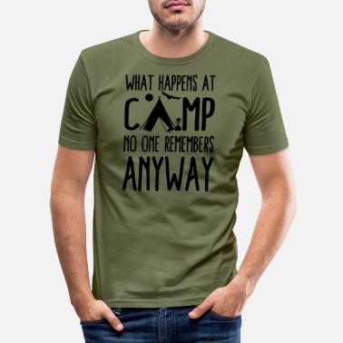 Vehicle What Happens at Campsite Funny Camping Saying - Men's Slim Fit T-Shirt