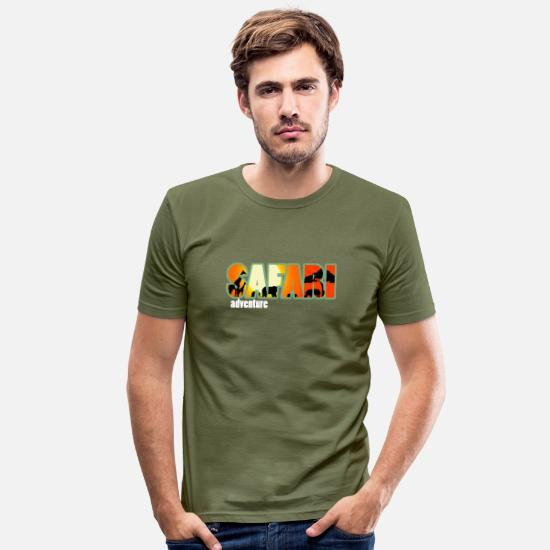 Dekoration T-Shirts - Safari - Männer Slim Fit T-Shirt khaki Grün