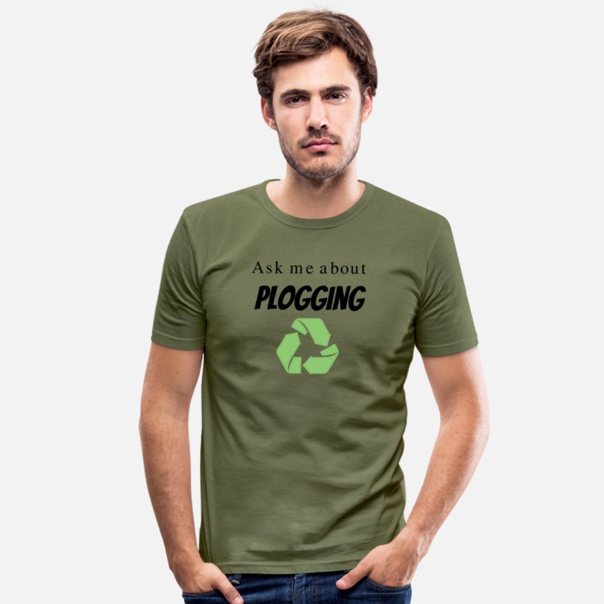 Männer Slim Fit T-Shirt Ask me about Plogging - Frag mich nach Plogging von Christine aka stine1 auf Spreadshirt
